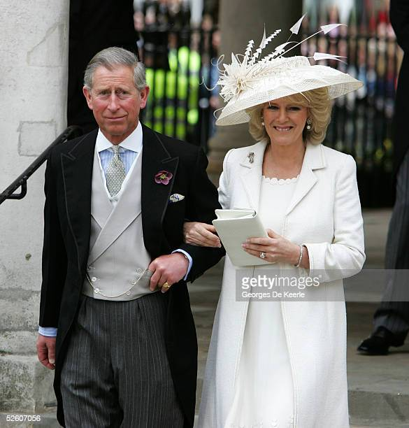 Prince Charles the Prince of Wales and his wife Camilla the Duchess of Cornwall depart the Civil Ceremony where they were legally married at The...
