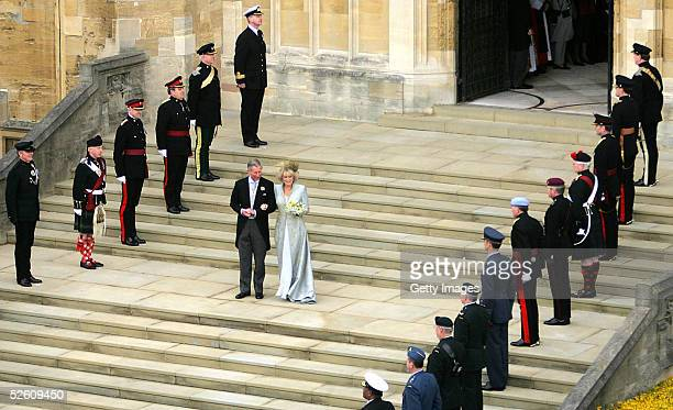TRH Prince Charles the Prince of Wales and his wife Camilla the Duchess Of Cornwall leave the Service of Prayer and Dedication following their...