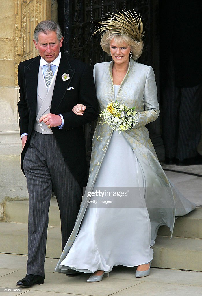 TRH Prince Charles, the Prince of Wales and his wife, Camilla, the Duchess Of Cornwall, leave the Service of Prayer and Dedication following their marriage at The Guildhall, at Windsor Castle on April 9, 2005 in Berkshire, England.