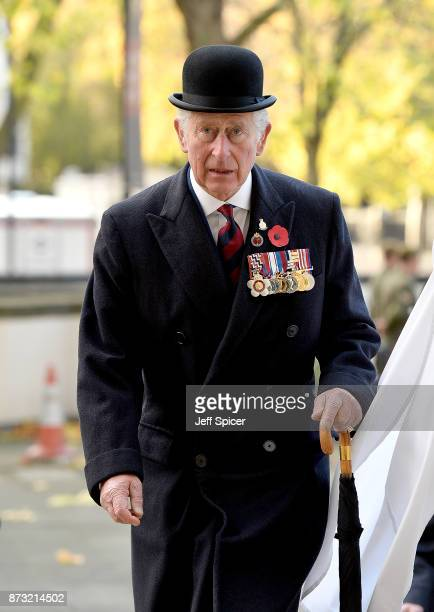 Prince Charles The Prince of Wales attends the Welsh Guards' Remembrance Sunday service at Guards Chapel on November 12 2017 in London England The...