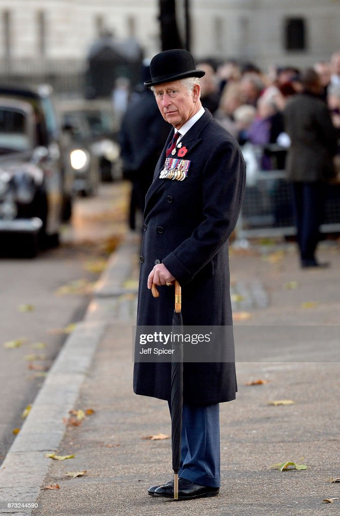 Prince Charles, The Prince of Wales is pictured after laying a wreath at the Guards' Memorial on November 12, 2017 in London, England. The Prince of Wales has been the Colonel of the Welsh Guards since 1975.