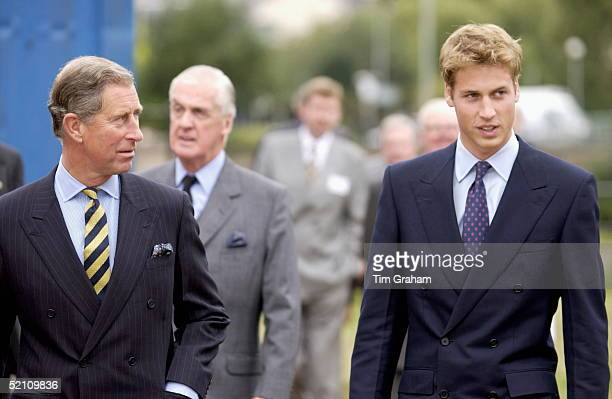 Prince Charles Watching His Son Prince William On A Visit To Anchor Mills In Paisley Glasgow Scotland