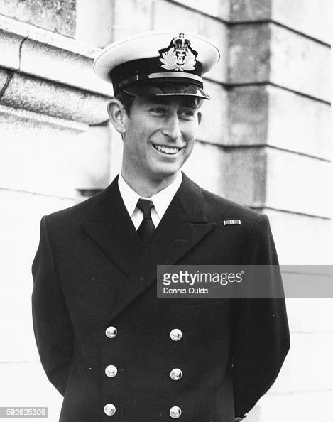 Prince Charles wearing naval uniform as he arrives at Britannia Royal Naval College to begin training Dartmouth Devon September 15th 1971