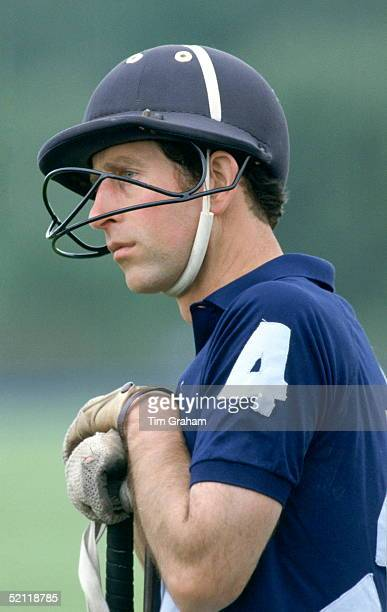 Prince Charles Wearing Riding Hat With Protective Face Guard After Suffering A Number Of Accidents And Injuries At Polo Matches