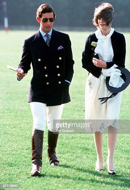 Prince Charles With A Friend At Polo At Smith's Lawn Windsor Circa Late 1970s