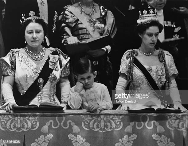 Prince Charles with his Aunt Princess Margaret and his Grandmother Elizabeth the Queen Mother at the 1953 Coronation of his mother Queen Elizabeth II