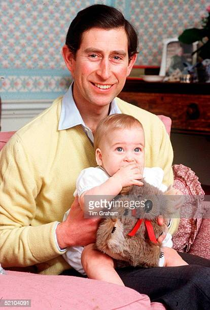 Prince Charles With His Baby Son Prince William In The Sitting Room Of Their Home In Kensington Palace Prince William Has His Toy Koala Bear