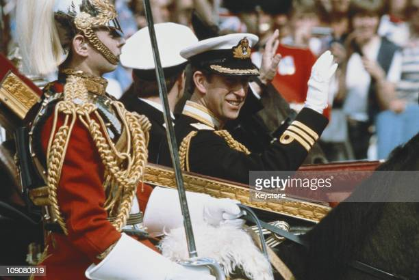 Prince Charles with his brother and supporter Prince Andrew on the way to St Paul's Cathedral to marry Lady Diana Spencer London 29th July 1981