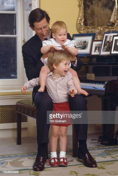 Prince Charles with his sons Prince William and Prince Harry at Kensington Palace London 4th October 1985