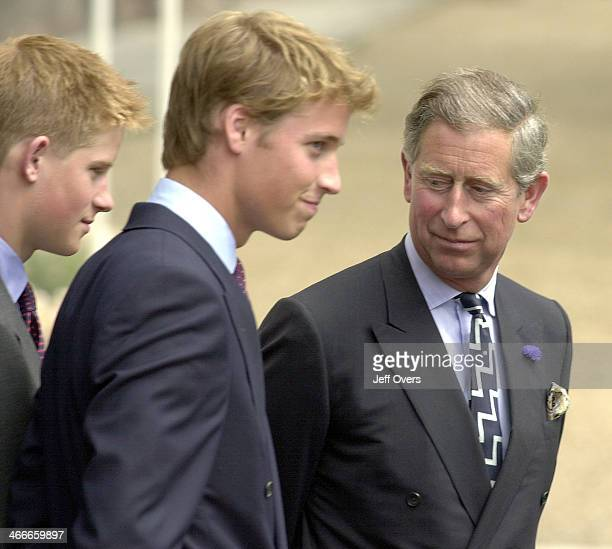 Prince Charles with his two sons Prince William and Prince Harry at the Queen Mothers 101st birthday