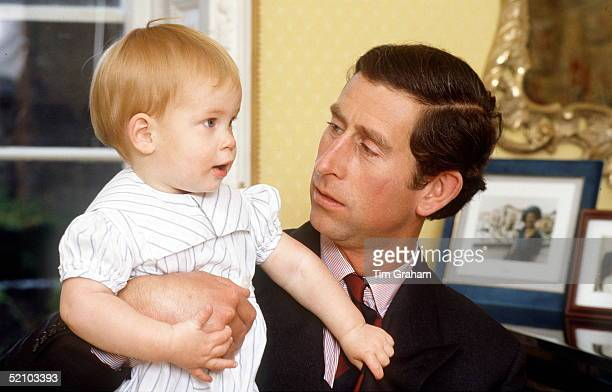 Prince Charles With Prince Harry Age One At Home In Kensington Palace