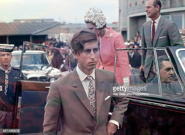 Prince Charles with Queen Elizabeth II and Prince Philip arriving at the Royal Easter Show in Sydney circa April 1970