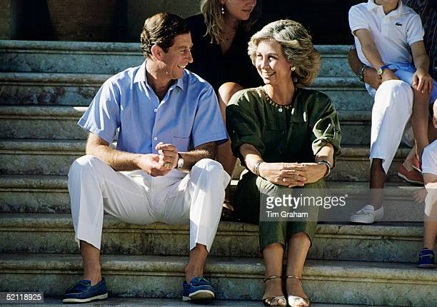 Prince Charles With Queen Sofia Of Spain On Holiday At The Marivent Palace In Majorca
