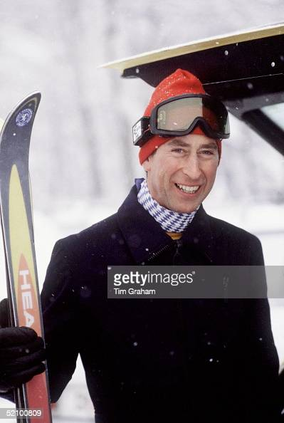 Prince Charles With Skis Ski Hat And Goggles On Skiing Holiday In Klosters Switzerland
