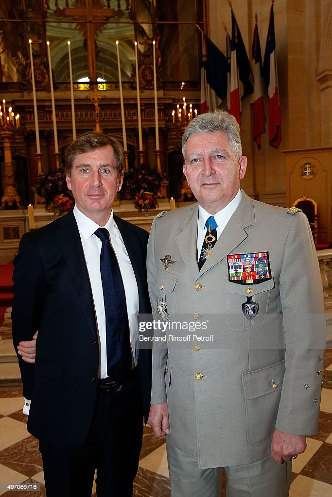 Prince Charles-Henri Lobkowicz and General Bertrand Ract Madoux, Governor of Invalides attend the mass given in memory of the 100 year anniversary of Prince Ernest Charles D'Arenberg's death in the First World War at Les Invalides on March 20, 2015 in Paris, France.