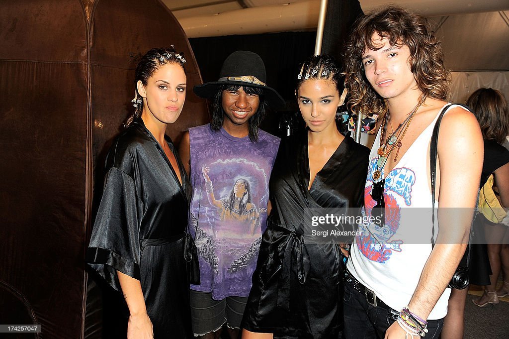 Prince Chenoa (second from left) and Jacob Bekat (R) pose with models backstage at the Minimale Animale show during Mercedes-Benz Fashion Week Swim 2014 at Oasis at the Raleigh Hotel on July 22, 2013 in Miami, Florida.