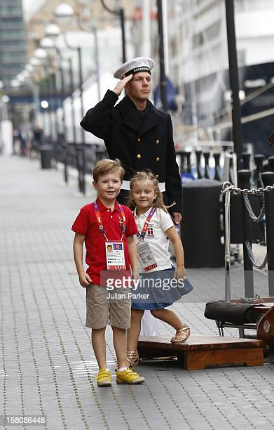 Prince Christian And Princess Isabella Of Denmark Leaving The Royal Yacht Dannebrog The Morning In Their Way To Watch The Olympics
