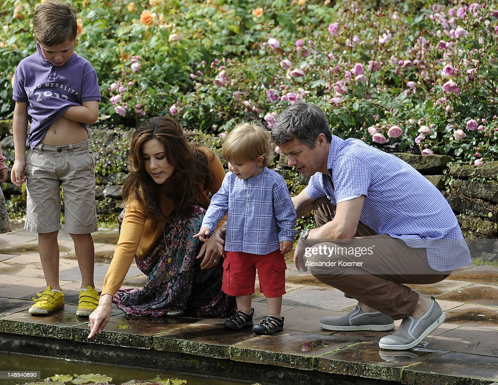 Prince Christian, Crown Princess Mary, Prince Vincent Frederik Minik Alexander and <a gi-track='captionPersonalityLinkClicked' href=/galleries/search?phrase=Prince+Frederik+of+Denmark&family=editorial&specificpeople=171286 ng-click='$event.stopPropagation()'>Prince Frederik of Denmark</a> pose during a photocall for the Royal Danish family at their summer residence of Grasten Slot on July 20, 2012 in Grasten, Denmark.
