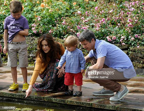 Prince Christian Crown Princess Mary Prince Vincent Frederik Minik Alexander and Prince Frederik of Denmark pose during a photocall for the Royal...