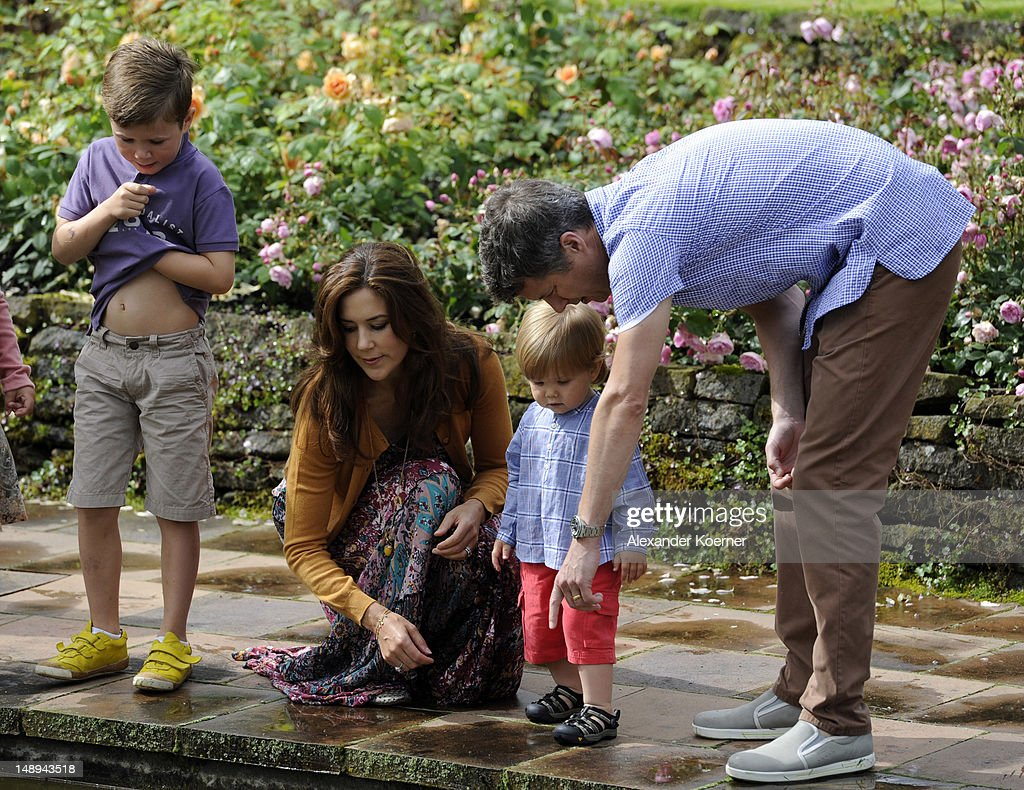 Prince Christian, Crown Princess Mary, Prince Vincent Frederik Minik Alexander and Prince Frederik pose during a photocall for the Royal Danish family at their summer residence of Grasten Slot on July 20, 2012 in Grasten, Denmark.