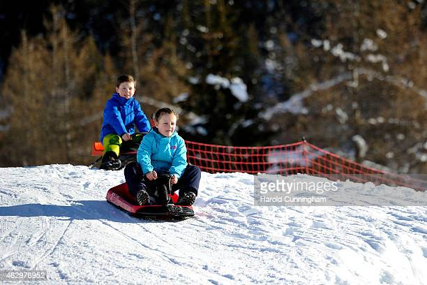 Prince Christian of Denmark and Princess Isabella of Denmark attend the Danish Royal family annual skiing photocall whilst on holiday on February 8...