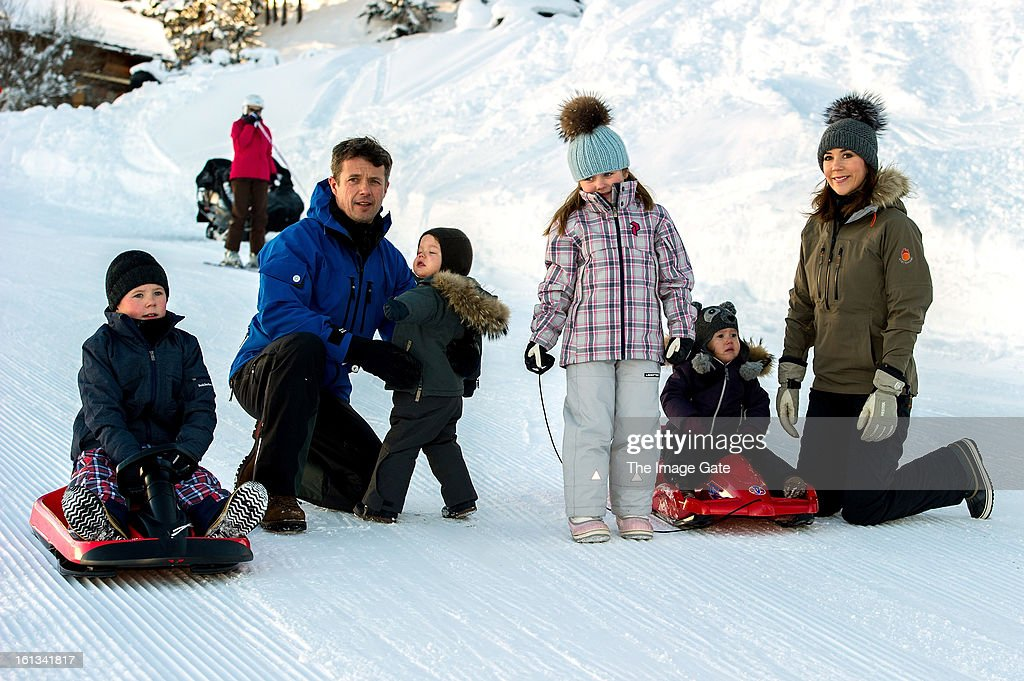 Prince Christian Of Denmark, Crown Prince Frederik Of Denmark, Prince Vincent Of Denmark, Princess Isabella Of Denmark, Princess Josephine of Denmark and Princess Mary of Denmark meet the press, whilst on skiing holiday on February 10, 2013 in Verbier, Switzerland.