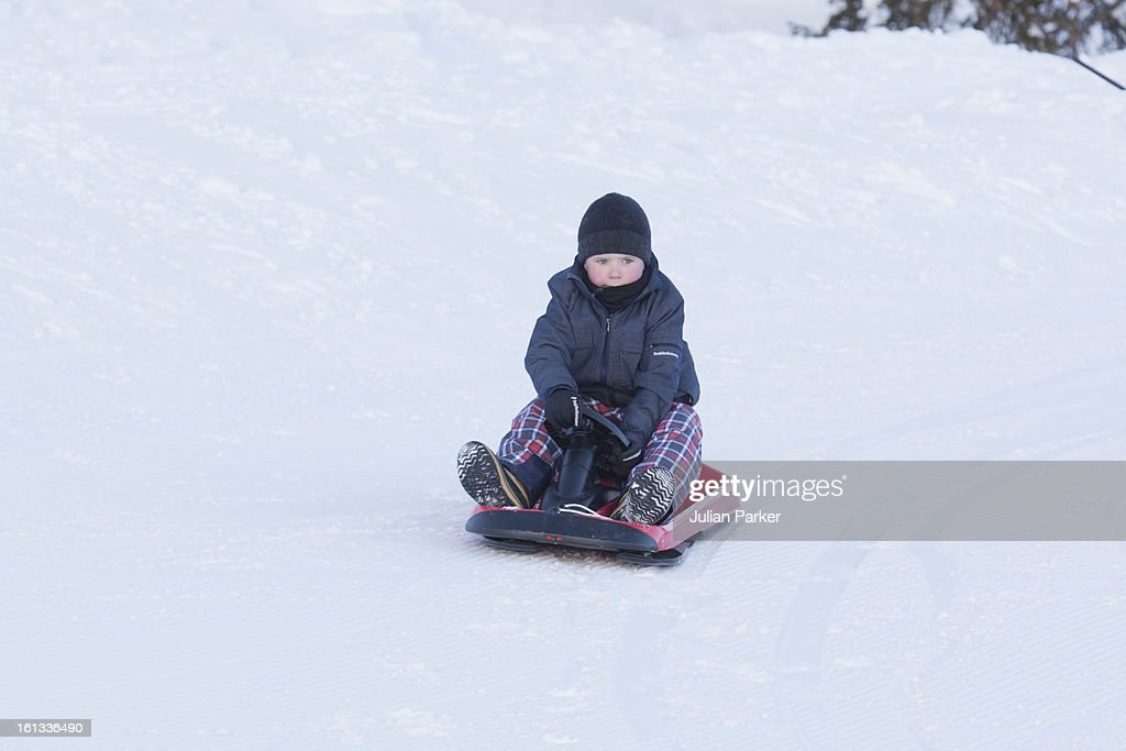 Prince Christian of Denmark poses for photographs on his annual skiing holiday on February 10, 2013 in Verbier, Switzerland.
