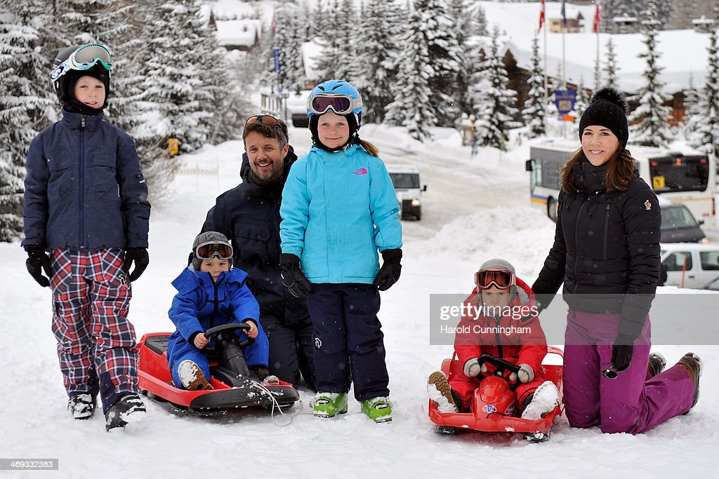 Prince Christian of Denmark, Prince Vincent of Denmark, Crown Prince Frederik of Denmark, Princess Isabella of Denmark, Princess Josephine of Denmark and Princess Mary of Denmark meet the press, whilst on skiing holiday on February 14, 2014 in Verbier, Switzerland.