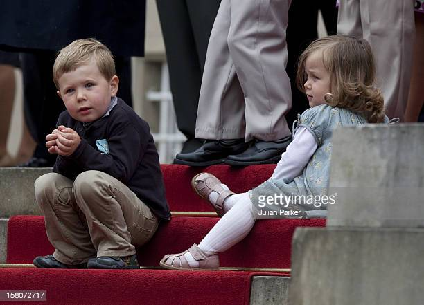 Prince Christian Of Denmark With His Sister Princess Isabella Attending A Parade At Fredensborg Palace To Celebrate Prince Henriks 75Th Birthday
