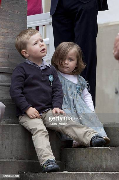 Prince Christian Of Denmark With His Sister Princess Isabella Watch A Parade At Fredensborg Palace To Celebrate Prince Henriks 75Th Birthday