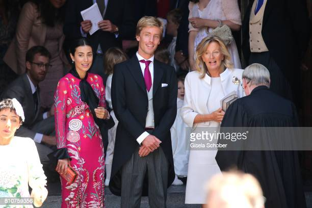 Prince Christian of Hanover and his fiancee Alessadra de Osma and his mother Chantal Hochuli former of Hanover leaves the wedding of Prince Ernst...