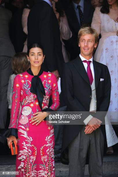 Prince Christian of Hanover and his fiancee Alessadra de Osma leaves the wedding of Prince Ernst August of Hanover Duke of BrunswickLueneburg and his...