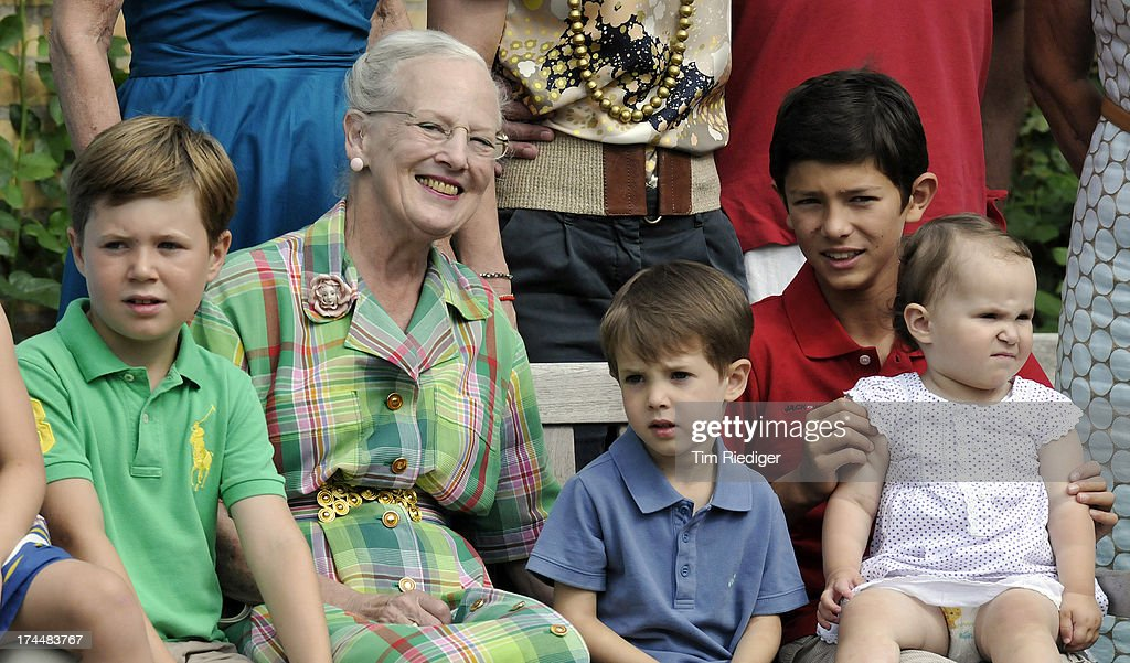 Prince Christian, Queen Margrethe II, Prince Henrik, Prince Nikolai and Princess Athena of Denmark attend the annual Summer photocall for the Royal Danish family at Grasten Castle on July 26, 2013 in Grasten, Denmark.