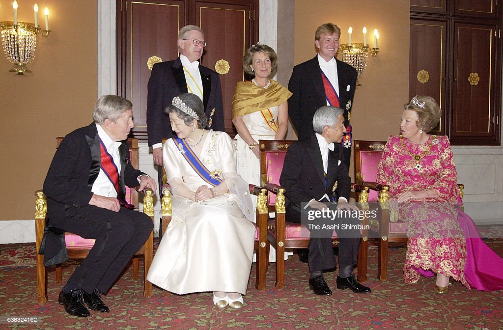 Prince Claus, Empress Michiko, Emperor Akihito and Queen Beatrix, (back row), Pieter van Vollenhoven Princess Margriet, and Crown Prince Willem-Alexander pose for photographs prior to the state dinner at the Royal Palace on May 23, 2000 in Amsterdam, Netherlands.