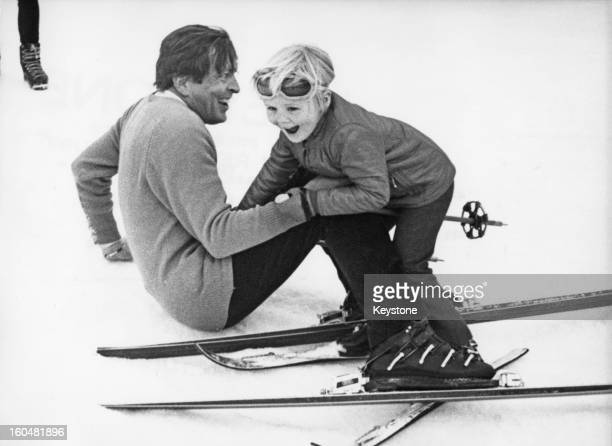 Prince Claus of the Netherlands with his eldest son WillemAlexander Prince of Orange during a holiday in Lech Austria 6th March 1972