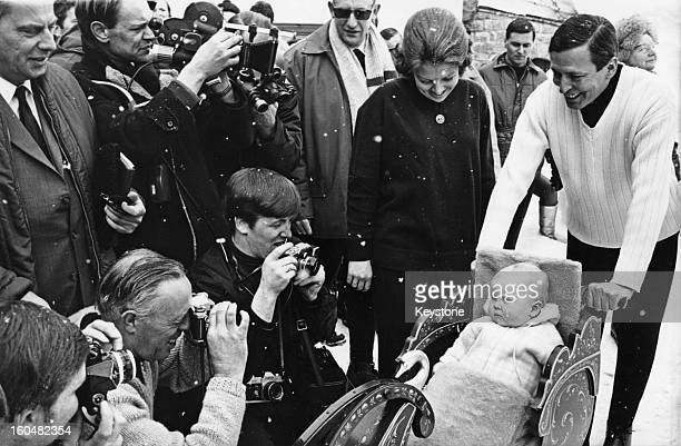 Prince Claus of the Netherlands with Princess Beatrix and their son WillemAlexander Prince of Orange during a holiday in Lech Austria 6th March 1968
