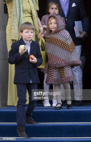 Prince ClausCasimir Princess Leonore and Princess Eloise leave the Royal Palace after a brunch with King Willem Alexander and Queen Maxima of The...
