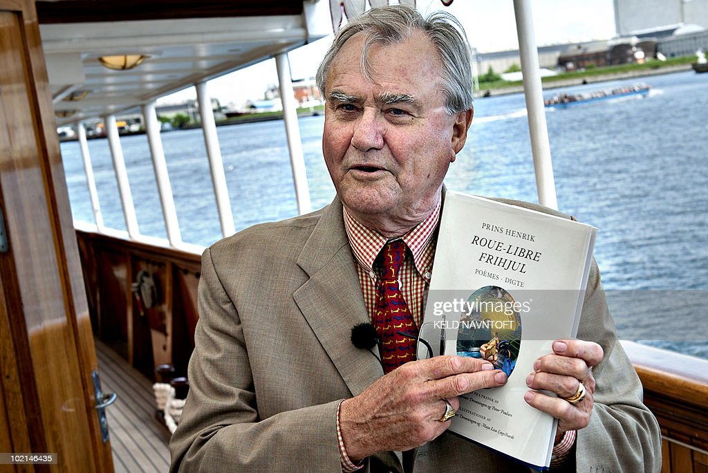 Prince Consort Henrik of Denmark presents his new collection of poems 'Freewheel / Roue Libre', at the Royal Yacht club in Copenhagen on June 16, 2010. Collection of poems illustrated by Danish Queen Margrethe and Maja - Lisa Engelhardt. AFP PHOTO / SCANPIX / Keld Navntoft