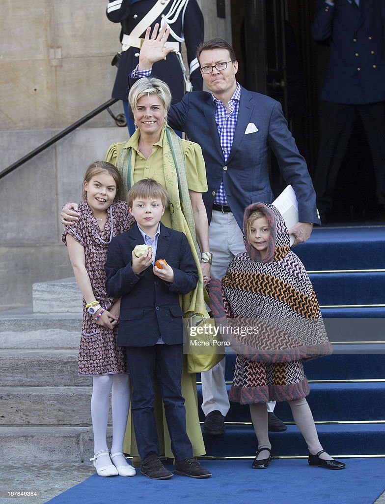 Prince Constantijn and Princess Laurentien of The Netherlands and their children (L-R) Eloise, Claus-Casimir and Leonore leave the Royals Palace after a brunch with King Willem Alexander and Queen Maxima of The Netherlands on May 1, 2013 in Amsterdam Netherlands.