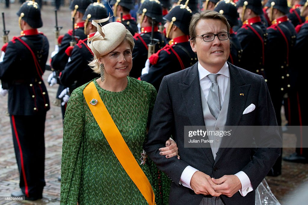 Prince Constantijn (R) and Princess Laurentien of the Netherlands arrive at The Binnenhof during Prinsjesdag (Prince's Day) on September 15, 2015 in The Hague, Netherlands.