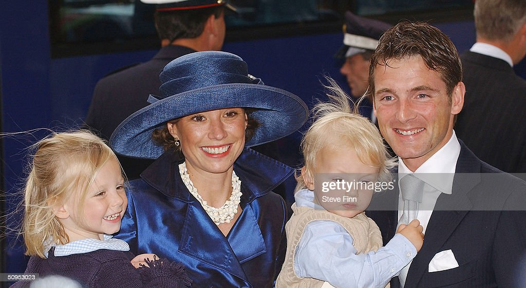 Prince Constantijn and Princess Princess Laurentien leave the Christening of baby girl Catharina-Amalia, daughter of Dutch Crown Prince Willem Alexander and Princess Maxima at the Hague on June 12, 2004 in Amsterdam, The Netherlands. Her parents announced the birth of their daughter Princess Amalia - who is the heir to the Dutch throne - on December 7, 2003.
