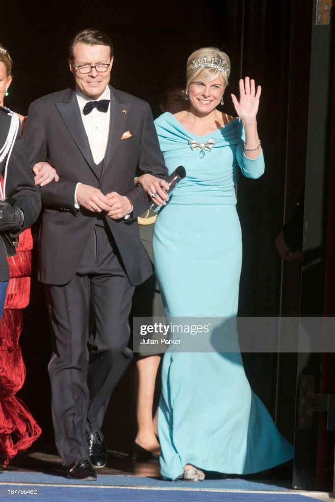 Prince Constantijn of the Netherlands and his wife Princess Laurentien of the Netherlands leave The Royal Palace in Amsterdam to attend a dinner hosted by Queen Beatrix of The Netherlands ahead of her abdication at the Rijksmuseum on April 29, 2013 in Amsterdam, Netherlands. (Photo by Julian Parker/UK Press via Getty Images