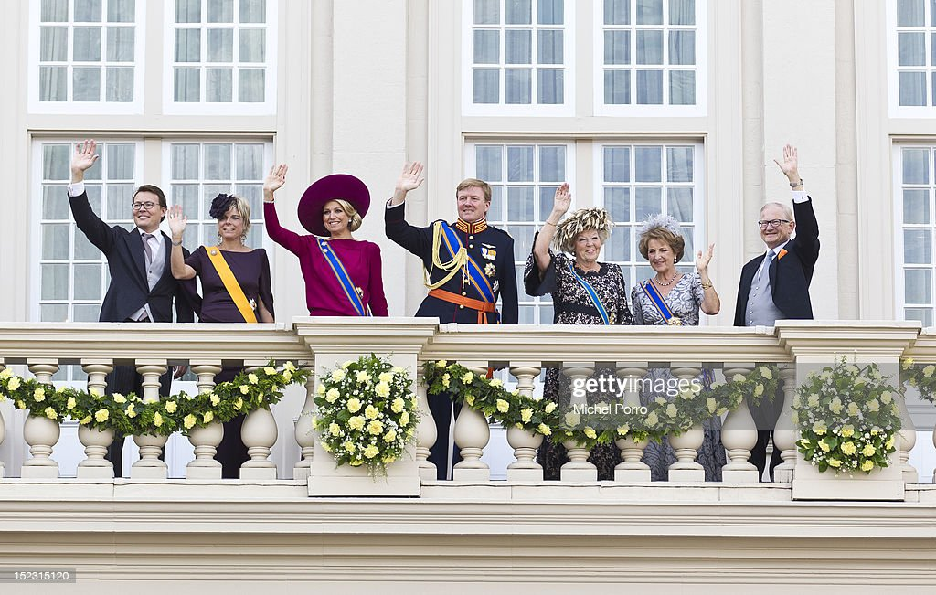 Prince Constantijn, <a gi-track='captionPersonalityLinkClicked' href=/galleries/search?phrase=Princess+Laurentien&family=editorial&specificpeople=212952 ng-click='$event.stopPropagation()'>Princess Laurentien</a>, Princess Maxima, Crown Prince Willem Alexander, Queen Beatrix, Princess Margriet and Pieter van Vollenhove of The Netherlands wave from the Noordeinde Palace balcony after attending Budget Day announcement on September 18, 2012 in The Hague, Netherlands.