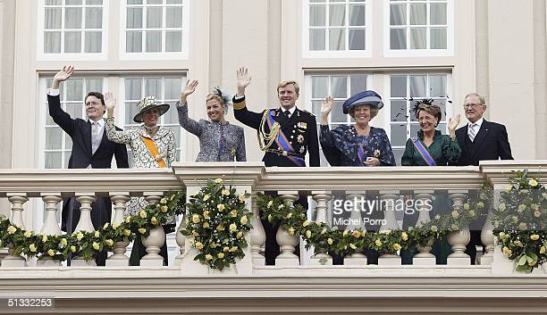 Prince Constantijn Princess Laurentien Princess Maxima Crown Prince Willem Alexander Queen Beatrix Princess Margriet and Pieter van Vollenhove wave...