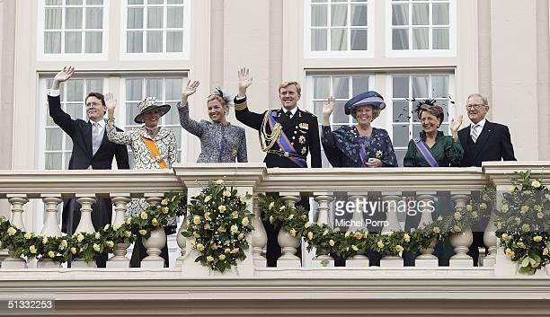 Prince Constantijn Princess Laurentien Princess Maxima Crown Prince Willem Alexander Queen Beatrix Princess Margriet and Pieter van Vollenhove wave...