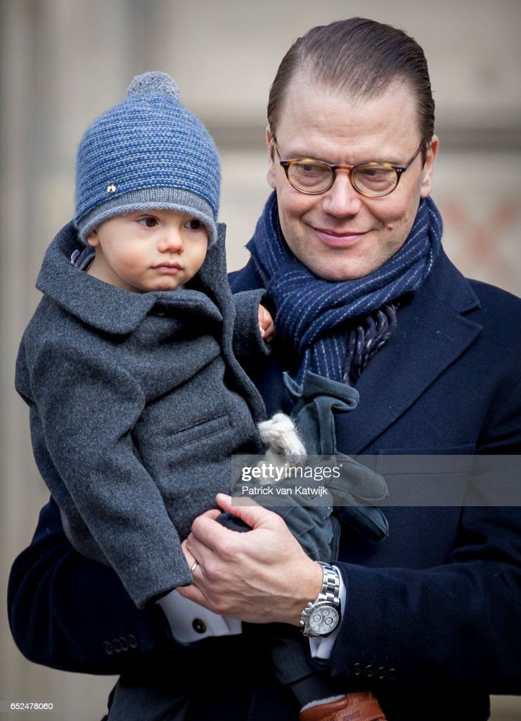 Prince Daniel and Prince Oscar celebrate the nameday ceremony of the Crown Princess at the inner square of the Royal Palace on March 12, 2017 in Stockholm, Sweden.