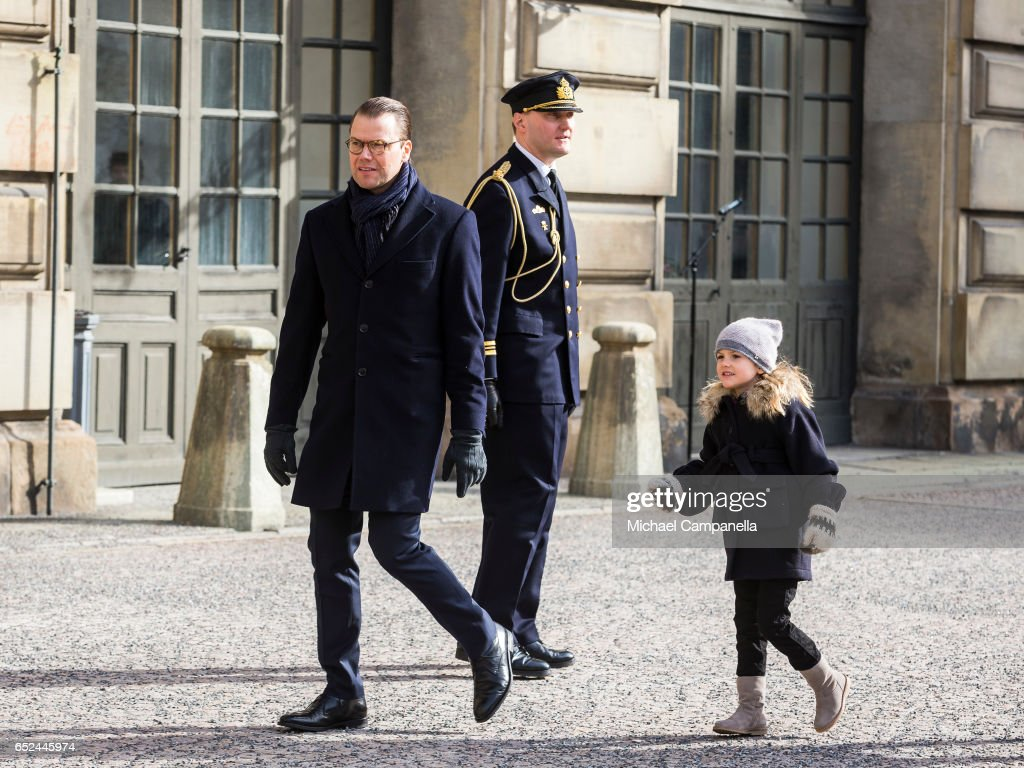 Prince Daniel and Princess Estelle of Sweden attend a name day celebration for Princess Victoria at the Royal Palace on March 12, 2017 in Stockholm, Sweden.