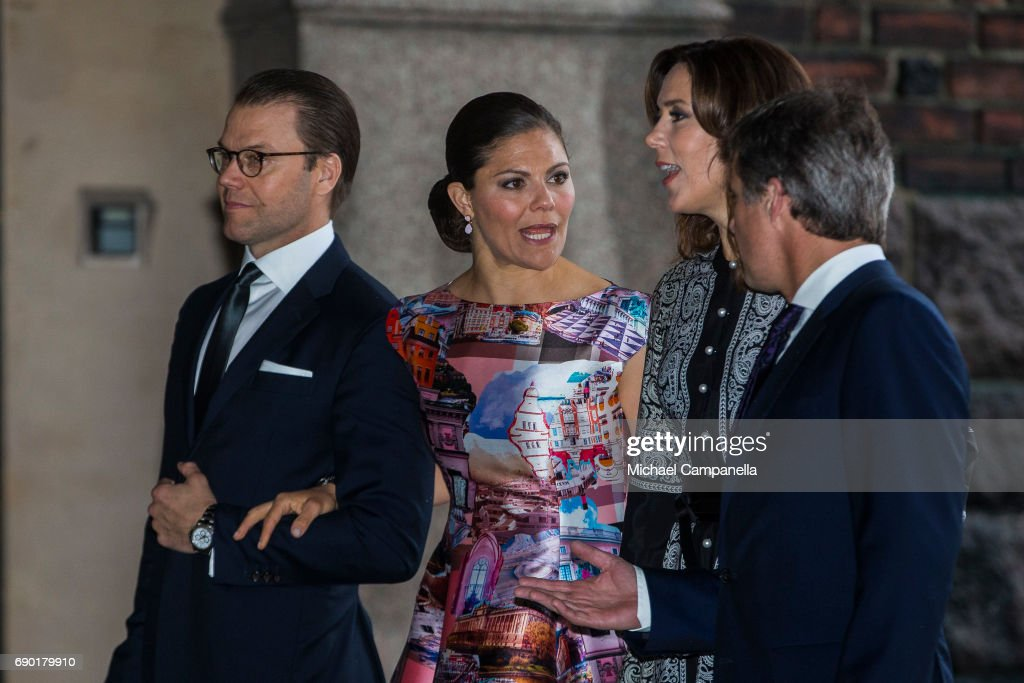 Prince Daniel and Princess Victoria of Sweden alongside Prince Frederik and Princess Mary of Denmark arrive Stockholm city hall for an official dinner on May 30, 2017 in Stockholm, Sweden.