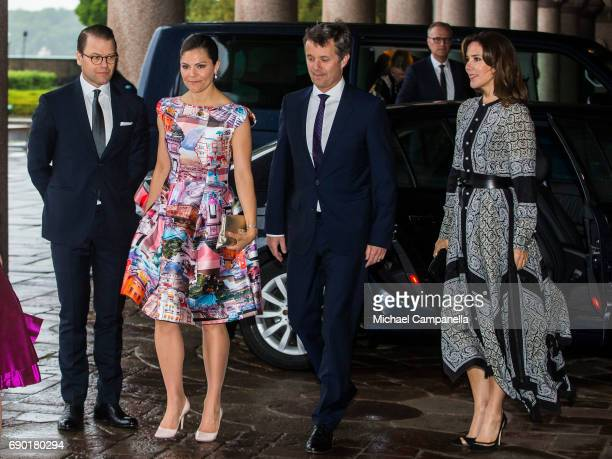 Prince Daniel and Princess Victoria of Sweden alongside Prince Frederik and Princess Mary of Denmark arrive Stockholm city hall for an official...