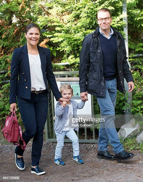 Prince Daniel Duke of Vastergotland and Crown Princess Victoria of Sweden attend a photocall on Princess Estelle's first day at preschool on August...